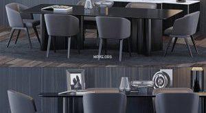 تحميل موديلات  539 Table & chair- طاولة-وكرسي Minotti  and
