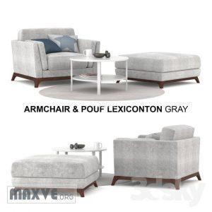 622 تحميل موديلات كنب Armchair & Pouf Lexiconton GRAY