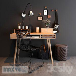 تحميل موديلات  548 Table & chair- طاولة-وكرسي Home workspace set