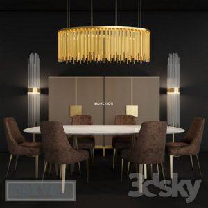 تحميل موديلات  563 Table & chair- طاولة-وكرسي Paolo Castelli Furniture set 1