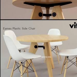 تحميل موديلات  227 Table & chair- طاولة-وكرسي eames plastic side  wood DSW