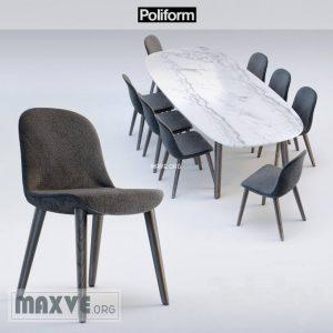 تحميل موديلات  286 Table & chair- طاولة-وكرسي Poliform MAD DINNING