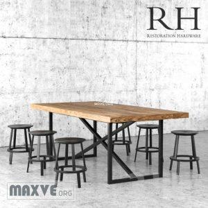 تحميل موديلات  288 Table & chair- طاولة-وكرسي Restoration Hardware
