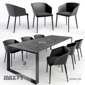 تحميل موديلات  334 Table & chair- طاولة-وكرسي Gravelli  Zanotta