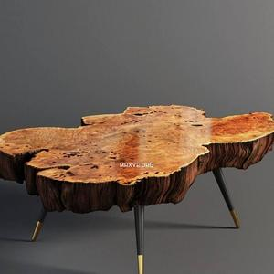 تحميل موديلات  348 Table & chair- طاولة-وكرسي Wood slab coffee