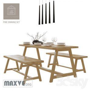 تحميل موديلات  368 Table & chair- طاولة-وكرسي pine dinning set f