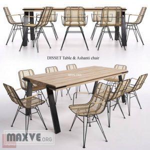 تحميل موديلات  442 Table & chair- طاولة-وكرسي DISSET  & Ashanti