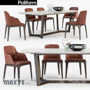 تحميل موديلات  449 Table & chair- طاولة-وكرسي Poliform GRACE  CONCORDE  set