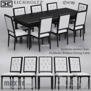 تحميل موديلات  455 Table & chair- طاولة-وكرسي Eichholtz Anvers  and Wallace Dining
