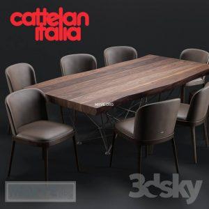 تحميل موديلات  478 Table & chair- طاولة-وكرسي Cattelan Godron Deep Wood Magda