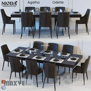 تحميل موديلات  484 Table & chair- طاولة-وكرسي Moda Agatha Odette
