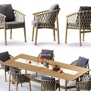 تحميل موديلات  497 Table & chair- طاولة-وكرسي GINESTRA Rectangular