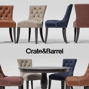 تحميل موديلات  498 Table & chair- طاولة-وكرسي Crate&Barrel  Cecelia Dining  Avalon 45 Black Roun  Extension Dining