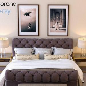 تحميل موديلات  512 Burton eloise tufted sleigh سرير bed vray and corona
