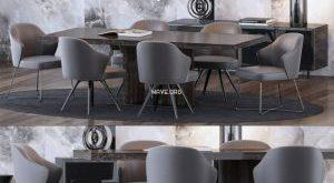 تحميل موديلات  526 Table & chair- طاولة-وكرسي Minotti  and