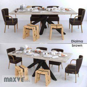 تحميل موديلات  530 Table & chair- طاولة-وكرسي dialma brown set