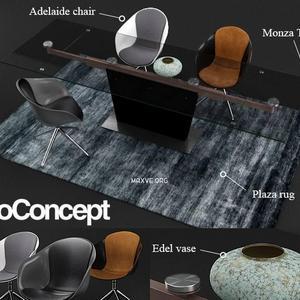 تحميل موديلات  534 Table & chair- طاولة-وكرسي Boconcept  and